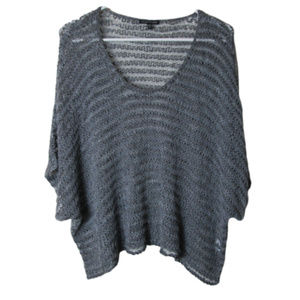 Eileen Fisher gray silver boxy loose knit top